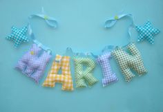 Boys room name fabric banner with stars by LittleFairyCottage, $7.00