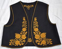 New hungarian hand embroidered black Matyo floral wool vest. Size EU 40 / UK Size: Length: / Chest: / Dry clean only. Flower Patterns, Flower Designs, Peacock Pictures, Young Frankenstein, Silk Coat, Embroidery Neck Designs, Wool Vest, Blouse Designs, Lace