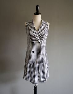 Vintage 90s TWIN Set GINGHAM Checkered Black & White Short Set xs-s by heightofvintage