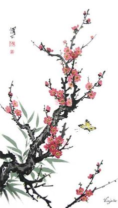 Chinese Brush Painting: plum bamboo butterfly
