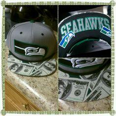 """Seattle Seahawks  """"Make It Rain"""" Custom Brim Snapback!"""