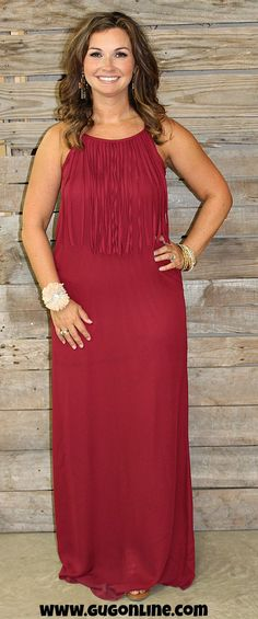 I'm So Fringy Maxi Dress in Maroon - $34.95 - www.gugonline.com