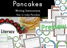 Writing Instructions - Making Pancakes by Polly Puddleduck Making Pancakes, How To Make Pancakes, Teaching Aids, Teaching Writing, Healthy Eating Tips, Healthy Nutrition, Fruits And Vegetables, Veggies, Vegetable Drinks