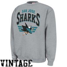 Mitchell & Ness San Jose Sharks Stadium Crew Sweatshirt - Ash