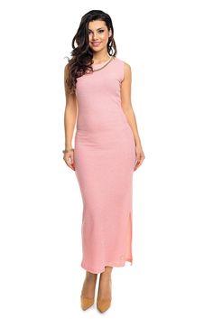 Strikket kjole med metallkjede pynt rosa