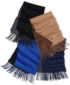 Polo Ralph Lauren Classic Reverisble Scarf Color: Polo Black/Windsor Heather