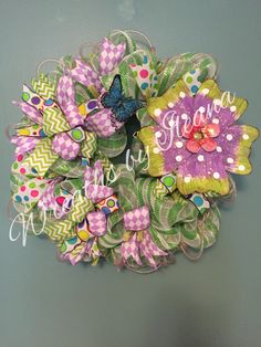 "Shades of green pink and lavender big and beautiful full 28"" wide Wreaths by Ileana $75.00 https://www.facebook.com/pages/Wreaths-by-Ileana/690079201043178"