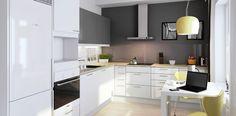 Tämä keittiö on väriltään tämän hetken suosikkiväri eli harmaa. Graafisen tyylikäs keittiö, harmaan ja valkoisen yhdistelmä on huipputrendikäs.