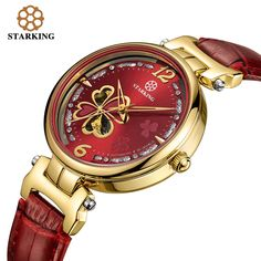 US $91.91 - STARKING Ladies Automatic Mechanical Watches Women Rose Gold Diamond Bracelet Watches Female Leather Clover Wristwatches AL0200