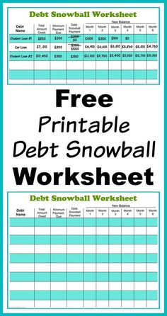 Free Printable Debt Snowball Worksheet- Perhaps the best way to pay down your debt is with the debt snowball method! Use my free printable debt snowball worksheet to get started! | paying down debt, debt free, debt repayment, budgeting, frugal living