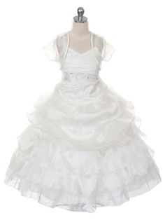 Ivory Simply Exquisite Organza Flower Girl Dress (Sizes 4-16 in 4 Colors)
