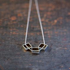 Sterling Silver Square Trio Necklace Three Geometric Slide Modern Handmade Jewelry. $42.00, via Etsy.