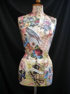 Female mannequin decorated with collage by ArtCollagebyFiona Shabby Chic Mannequin, Dress Form Mannequin, Mannequin Heads, Shabby Vintage, Vintage Sewing, Boutique Jewelry Display, Arte Country, Decoupage Art, Collage