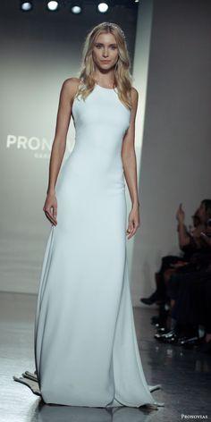 pronovias 2017 sleeveless jewel neck sheath wedding dress (new york bridal fashion week look2) mv