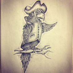 Pirate parrot tattoo sketch by - Ranz