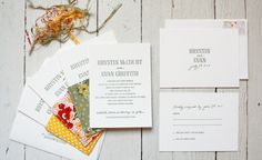 A letterpressed invitation, response card and envelope are held inside hand made fabric sleeves created from a palette of summery green and yellow patterns.