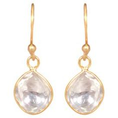 """Handcrafted gold-plated earrings with faceted prehnite stone drops.  Product: Pair of earringsConstruction Material: Gold-plated metal and prehniteColor: GoldFeatures: Made in India Handcrafted0.5"""" Drop  Cleaning and Care: Wipe clean with jewelry cloth"""