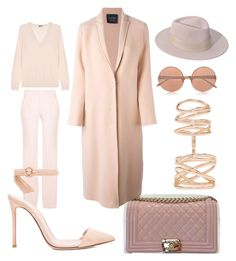 """""""Blushing"""" by y18mel on Polyvore featuring Joseph, Lanvin, Gianvito Rossi, Repossi, Maison Michel, Linda Farrow, women's clothing, women's fashion, women and female"""
