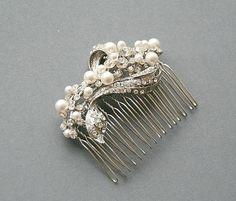 Vintage style bridal crystal pearl wedding by LavenderByJurgita, $71.00