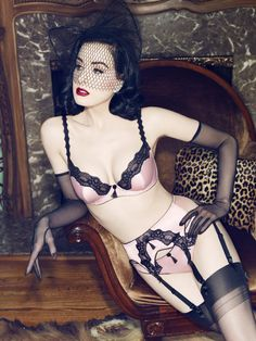 When you have a lingerie collection to market, who else better to model the lingerie other than yourself? Dita Von Teese does just that! Dita is modeling her own Von Follies lingerie and looking st… Belle Lingerie, Lingerie Look, Lingerie Vintage, Lingerie Plus Size, Hot Lingerie, Beautiful Lingerie, Glamour Lingerie, Satin Lingerie, Designer Lingerie