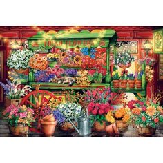 This 2000 piece puzzle features a vibrant flower market. There are sunflowers, daisies and tulips surrounded by pots for planting and a watering can. Puzzle Shop, Puzzle Art, Puzzle Toys, 2000 Piece Puzzle, Mexican Flowers, Flower Cart, Naive Art, Colorful Flowers, Blue Flowers