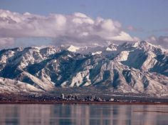 """""""A Different View""""  Salt Lake City, photo taken from south east shore of Antelope Island in the Great Salt Lake.  Utah has, on average, the tallest mountains of all the states.  High Uintahs get to 13,000 feet."""