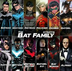 Well Barbra is now Oracle, but still a good line up. I especially like how they include huntress since she's secretly the Bruce's daughter from another dimension. Batman And Batgirl, Im Batman, Batman Art, Batman Robin, Dc Comics Superheroes, Arte Dc Comics, Marvel Comics, Superhero Family, Batman Family