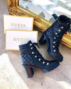 Geegee Quilted Faux-Leather Booties at Guess Shoes Sandals, Heels, Guess Shoes, Shoe Dazzle, Leather Booties, Sock Shoes, Fashion Advice, Footwear, Booty