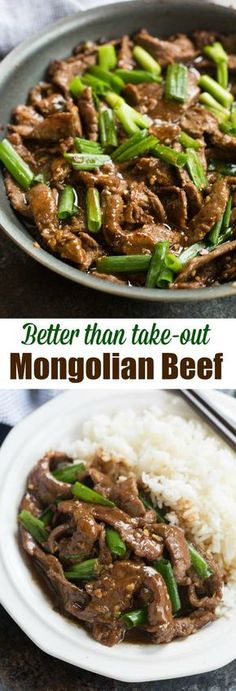 This easy Mongolian Beef recipe is better than take-out and can be made in just 30 minutes! Tender beef and fresh green onions in an amazing garlic and ginger asian sauce, served over hot cooked rice. | tastesbetterfromscratch.com
