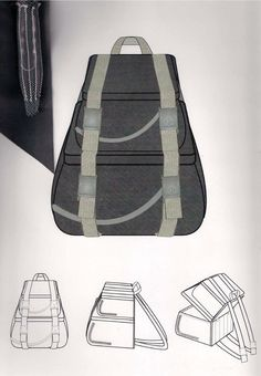 Backpack Drawing, Drawing Bag, Fashion Design Portfolio, Fashion Design Sketches, Bag Illustration, Fashion Sketchbook, Sketchbook Inspiration, Bag Design, Technical Drawing