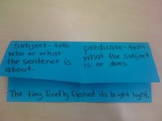Great Idea for teaching subject and predicate.
