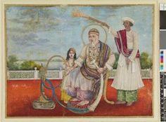 Emperor Bahadur Shah Zafar seated on a chair with lion claw feet, on a terrace