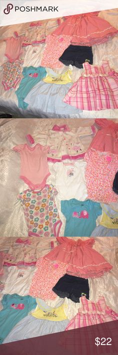 Baby Girl Bundle 5 onesies sizes are 18 months 3-6months, 6 months, 9-12 months, and 12 months, 3 dress 2 are 18 months and one is 24 months, Jean Shorts 18 months , and pink and white Bunny Jacket 3-6 months Dresses Formal