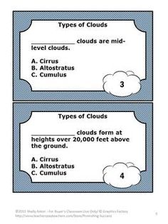 Science Types of Clouds 30 Task Cards