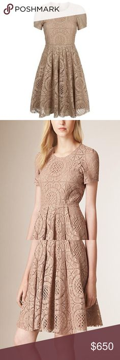 Burberry London Velma Crochet Lace Dress 8 Beautiful fit and flare Burberry London dress. Crocheted cotton lace with silk lining. In perfect condition. Burberry Dresses Midi
