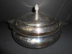 VTG SILVERPLATE CASSEROLE WITH LID AND PYREX BOWL SHEFFIELD SILVER CO 2 QT #SHEFFIELDSILVERCO $14.95