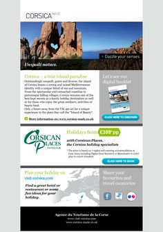 Corsica Emailer Email Campaign, Creative Advertising, Corsica, Case Study, Booklet, Paradise, Island, Digital, Nature