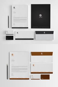 Black and White Corporate Identity Template Letterhead Design, Letterhead Template, Stationery Design, Logo Design, Presentation Folder, Presentation Design, Business Card Logo, Business Card Design, Corporate Identity Design