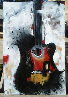 Guitare peinture blanc noir & rouge abstrait peinture