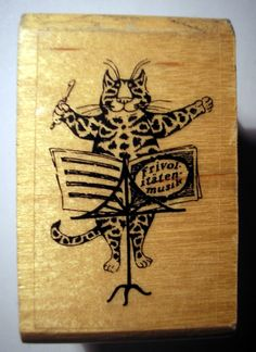 Edward Gorey Conductor Cat Rubber Stamp