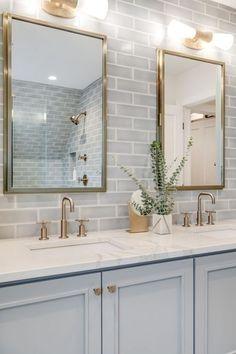33 modern farmhouse master bathroom renovation with delta 14 Related Bathroom Kids, Bathroom Renos, Bathroom Renovations, Small Bathroom, Bathroom Ideas White, Blue Bathroom Vanity, Bathroom With Tile Walls, Subway Tile Bathrooms, Basement Bathroom Ideas