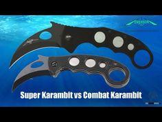 Emerson Combat Karambit vs Emerson Super Karambit Comparison.  See the Combat Karambit... http://www.osograndeknives.com/store/catalog/karambit-folding-knives/emerson-karambit-satin-blade-g-10-handle-plainedge-1875.html See the Super Karambit... http://www.osograndeknives.com/store/catalog/karambit-folding-knives/emerson-super-karambit-black-blade-g-10-handle-plainedge-1929.html