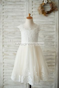 4e0fe91d02efd Ivory Lace Champagne tulle Cap Sleeves Wedding Flower Girl Dress with  Beading