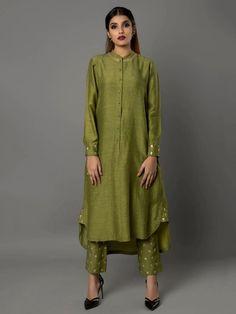 Olive Green Bamberg Linen Tunic with Pants - Set of 2 By Ritu Jain Singh Silk Kurti Designs, Kurta Designs Women, Salwar Designs, Blouse Designs, Indian Attire, Indian Wear, Indian Designer Outfits, Designer Dresses, Indian Dresses