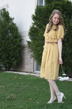 mustard shirt dress - perfect for casual running errands or grabbing lunch with girlfriends