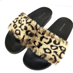 372190b617d4 Steve Madden Softey Women s Size 10 Faux Leopard Furry Slide Black Sandal   fashion  clothing  shoes  accessories  womensshoes  sandals (ebay link)
