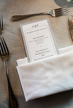 Modern, gray, black and white wedding menu (Meredith Hanafi Photography)