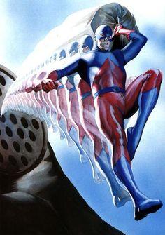 The Atom by Alex Ross Arte Dc Comics, Marvel Comics, Comic Book Heroes, Marvel Heroes, Comic Books Art, Comic Art, Ms Marvel, Captain Marvel, Book Art