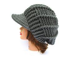 Gray Newsboy Hat - Crochet Cap - Women's Hat With Brim - Brimmed Beanie - Visor Hat - Crochet Accessories by BettyMarieJones on Etsy