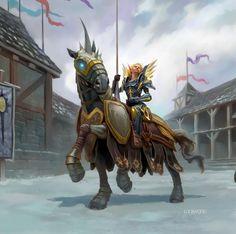 f Paladin on Warhorse in town w lance Grand Crusader - Todd Lockwood